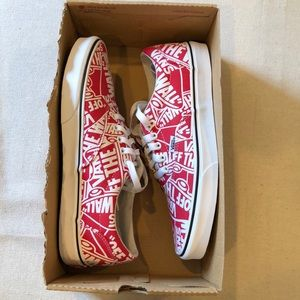 Vans Off The Wall Red Print Skateboard Shoes